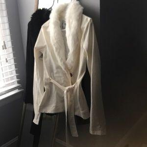 Sweaters - Fur neck cardigan Black S; Cream M